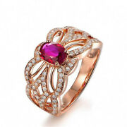 Christmas 1.68ct Round Diamond 14k Solid Rose Gold Ruby Gemstone Cocktail Ring