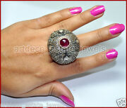 12.50cts Rose Antique Cut Diamond Ruby 925 Sterling Silver Cocktail Ring