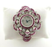 925 Sterling Silver Womenand039s Wrist Watch Simulated Diamond Bell White Red Round