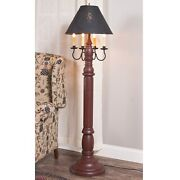 Irvin's Tinware General James Primitive Farmhouse Floor Lamp Red With Shade