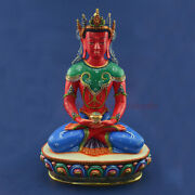 Hand Painted Copper Alloy With Gold Gilded Crowned Amitabha Buddha Statue
