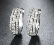 1.34ct Natural Round Diamond 14k Solid White Gold Clip On Wedding Hoops Earring