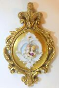 Vtg Of Wales Plume Feather Gold Frame Plaque Dresden Style Porcelain