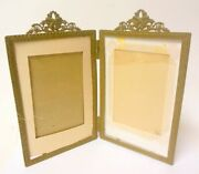 Antique French Double Picture Frame Bronze Bowknot Wreath Rococo Napoleonic
