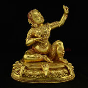 Hand Made Copper Alloy With 24 Karat Gold Gilded And Antiquated Virupa Statue