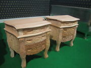 2 X Raw Unpainted 100 Mahogany French Style Rococo Bedside Cabinets Nightstand