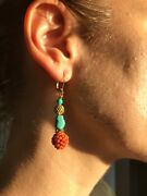 Turquoise And Chinese Coral Victorian Earrings