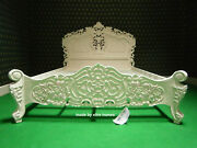 5and039 King Size Ivory / Cream French Style Mahogany Oriental Rococo Bed