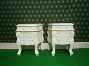 2 X Ivory Cream Mahogany French Oriental Sty Rococo Bedside Cabinets Nightstand