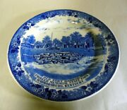 Antique Staffordshire Blue And White Plate Old Fort Harrod Harrodsburg Kentucky