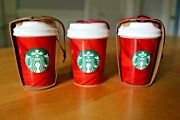 Starbucks 2014 Red Cup Holiday Ornament Worldwide Release Set Rare