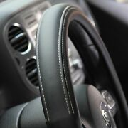 Black Pvc Leather Great Comfort Slip-on Style Steering Wheel Cover Small