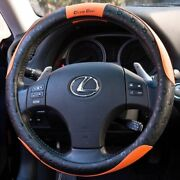 New Design Black And Orange Slip-on Steering Wheel Cover Pvc Leather Size Small