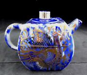 Alfredo Ratinoff 2009 White Blue Gold Teapot Art Pottery Excellent Condition