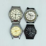 Lot Of 4 Timex Mens Wrist Watches 2 Quartz And 2 Automatic As Is
