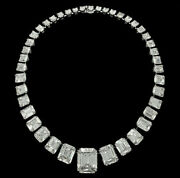 White Asscher Prong Set 925 Sterling Silver Tennis Necklace Wedding Jewelry