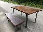 Industrial Dining Table Desk With Reclaimed Wood With Bench.