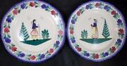 Quimper Campagne 2 Dinner Plates Woman As Is And Man Great Condition