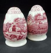 Spode Tower Pink Vintage Back Stamp Salt And Pepper Set S And P Great Condition