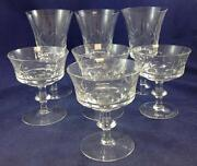 Gorham Crystal Viscount 3 Goblets And 4 Champagne Tall Sherbet Glasses 1493 A+