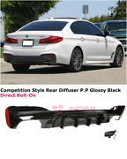 For 17-19 Bmw 5 Series W/ M Sport   Competition Style Glossy Black Rear Diffuser