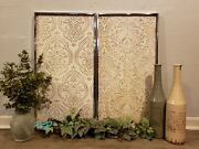 French Country Cottage Set/2 Wood Metal Damask Embossed Wall Art Panels Decor