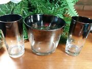 Mid-century Modern Dorothy Thorpe Silver/glass Ice Bucket With 2 Glasses