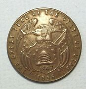 Medal Great Seal Of State Of Utah 1847 - 1896 Antique Brass 32mm Round