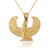 Yellow Gold Egyptian Isis Winged Goddess Pendant Necklace