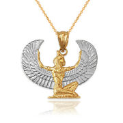 Two-tone Yellow Gold Egyptian Isis Winged Goddess Pendant Necklace