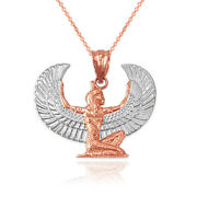 Two-tone Rose Gold Egyptian Isis Winged Goddess Pendant Necklace
