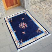 4and039x6and039 Natural Blue Handmade Home Decor Art Silk Rug Handknotted Area Carpet