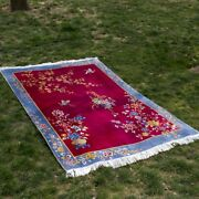 4and039x6and039 Rose Red Handmade Home Decor Art Silk Rug Luxury Handknotted Area Carpet