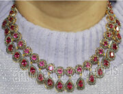 20.30ct Rose Cut Diamond Antique Look 925 Silver Ruby Gemstone Necklace