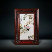 China Famous Painter Chen Jianqing Porcelain Peony Flower Rooster Cock Paintings