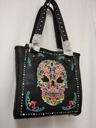 Montana West Sugar Skull Tote Purse And Matching Wallet