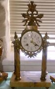 Stunning Antique French Clock. 3 Piece Clock And Side Urns. Bronze And Marble