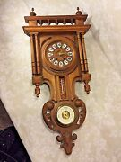 Antique Black Forest Wall Clock W/ Barometer And Thermometer Nice Gallery Topper