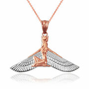 Two-tone Rose Gold Isis Egyptian Winged Goddess Pendant Necklace