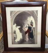 Antique 1880s Axel Ender Norway Hand Color Lithograph Easter Morning Angel Print