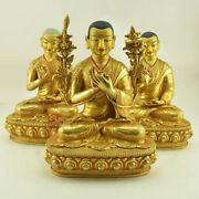 Guru Tsongkhapa Copper Alloy Gold Gilded Face Painted Copper Statue