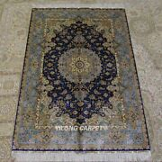 4and039x6and039 Classic Handmade Silk Home Decor Rug Blue Hand Knotted Area Carpet Z317a
