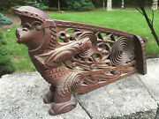 Antique Asian Chinese Bali Carved Wood Dragon Boat Bow Architectural Decor