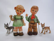 Vintage Pair Of Boy And Girl Figurines With Dogs On Leash Hummel Style Japan