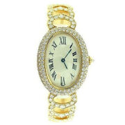 14k Yellow Gold On Solid 925 Sterling Silver Womenand039s Wrist Watch Oval Bracelet