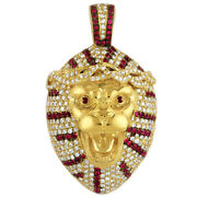 Round White And Red Simulated Diamond Tiger Menand039s Pendant 925 Sterling Silver