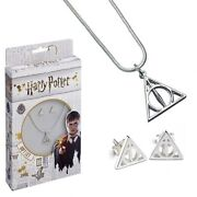 Harry Potter - Silver Plated Necklace And Earring Set Deathly Hallows