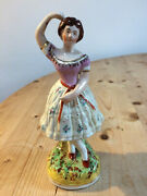 Rare And Lovely Antique Staffordshire Porcelain Figurine Of Columbine The Dancer