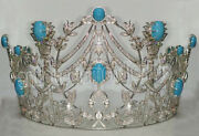 16.95cts Rose Cut Diamond Turquoise .925 Sterling Silver Tiara