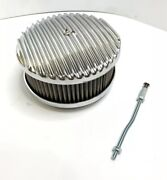 Finned Aluminum Air Cleaner - Polished 4 Barrel 6-3/8 Show Quality